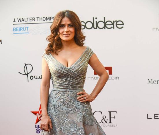 salma hayek,elie saab,red carpet.glamour,fashion