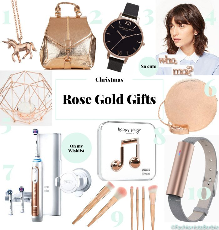 rose gold, christmas, gift guide, beauty, fashion, fashionista barbie