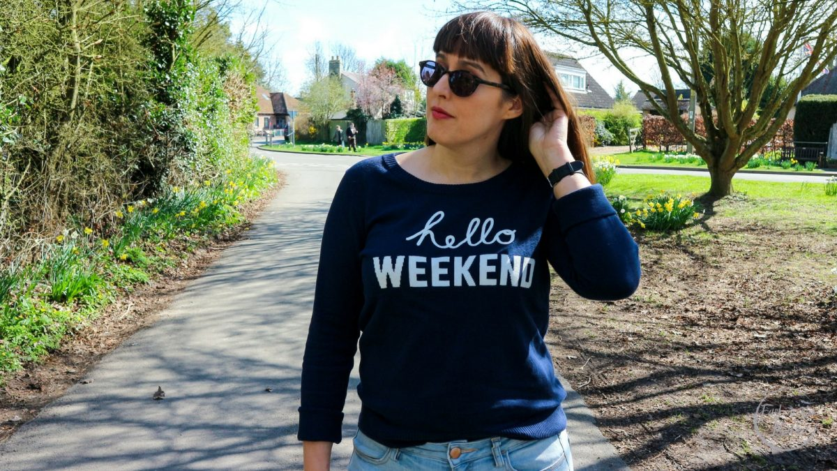 hello weekend,gap,american eagle, how to style skinny ripped jeans, american eagle jeans, gap jumper, spring fashion, weekend fashion, what to wear at the weekend in spring, brogues