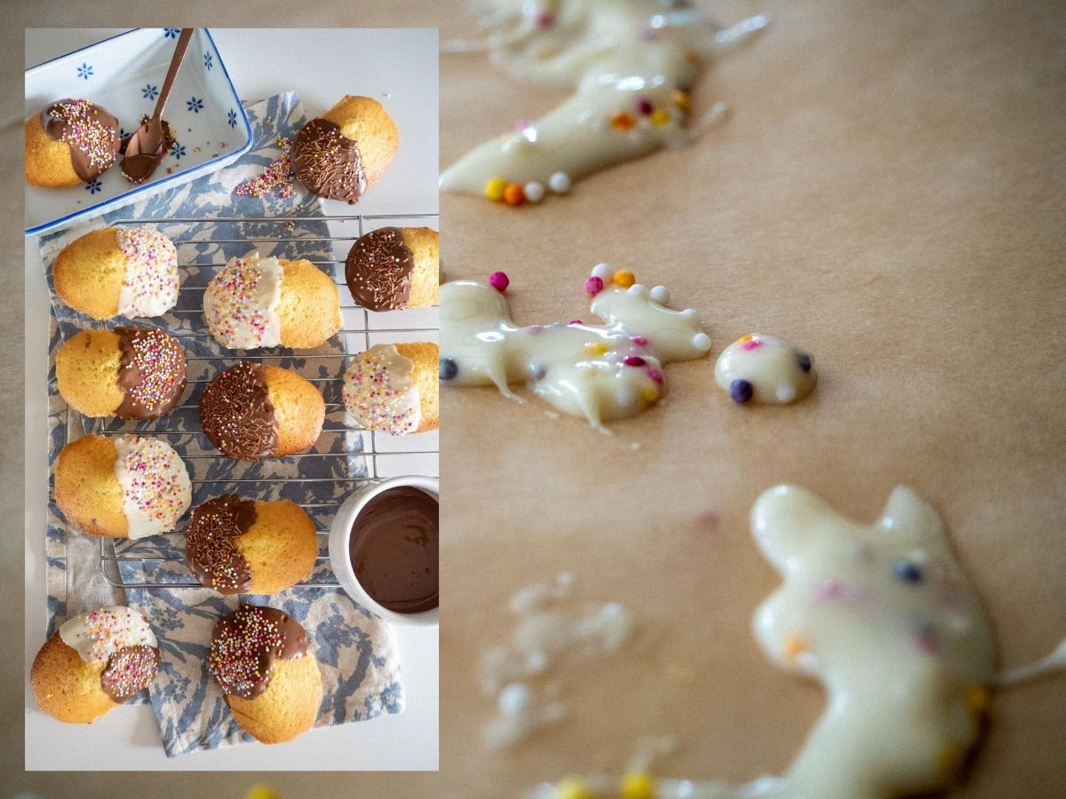 Madeleines, French Madeleines, Baking, Recipe, Chocolate Chip Madeleines, Chocolate-dipped Madeleines, French Baking, Cake